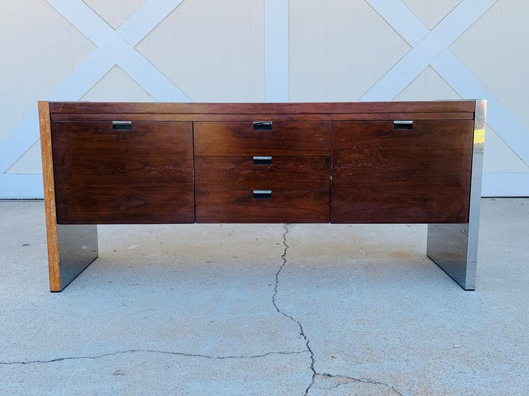 Rosewood & Stainless Credenza by Roger Sprunger/Dunbar For Sale 1