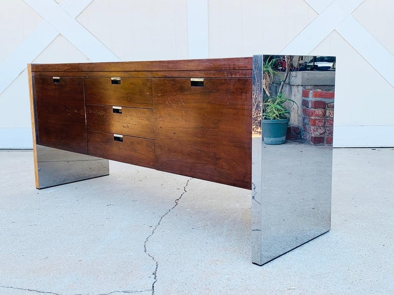 Rosewood & Stainless Credenza by Roger Sprunger/Dunbar For Sale 2
