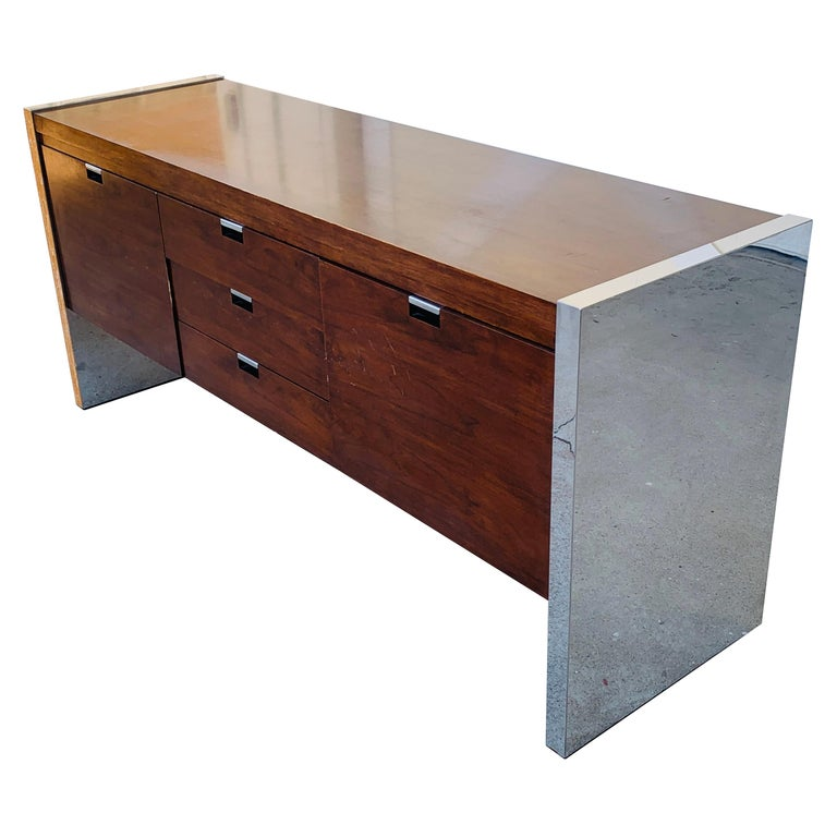 Rosewood & Stainless Credenza by Roger Sprunger/Dunbar For Sale
