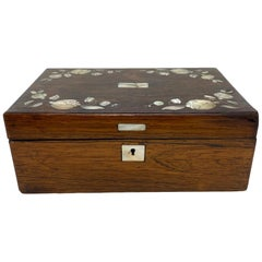 Rosewood Stationery Box with Fine Inlaid Mother of Pearl Flowers, circa 1840