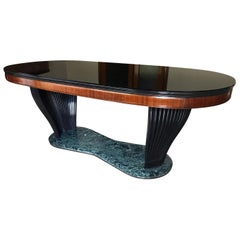 Italian Mid-Century Dining Table with Black Opaline Top by Vittorio Dassi, 1950s