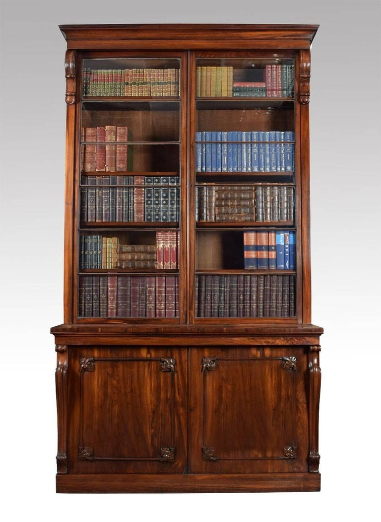 Regency rosewood library bookcase the projecting cornice above two large glazed doors enclosing 5 adjustable shelves to each side the base section fitted with panelled cupboard doors opening to reveal one large shelf all raised up on a plinth