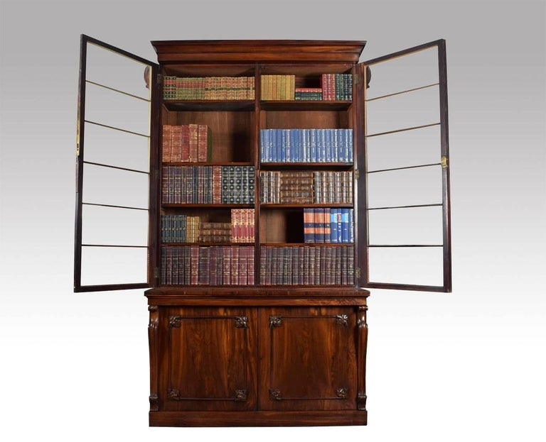 Regency Rosewood Two-Door Library Bookcase For Sale