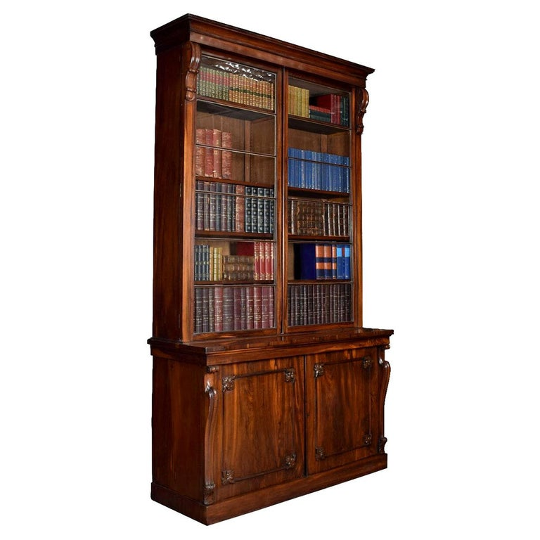 Rosewood Two-Door Library Bookcase For Sale