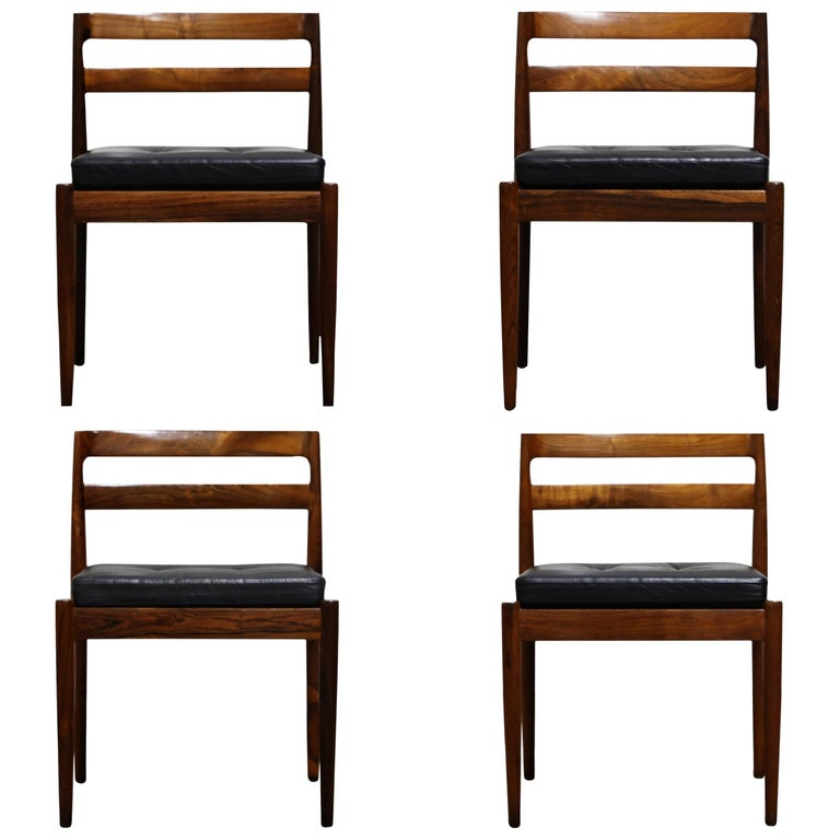 "Rosewood ""Universe"" Chairs by Kai Kristiansen for Magnus Olesen, Signed Set of 4 For Sale"