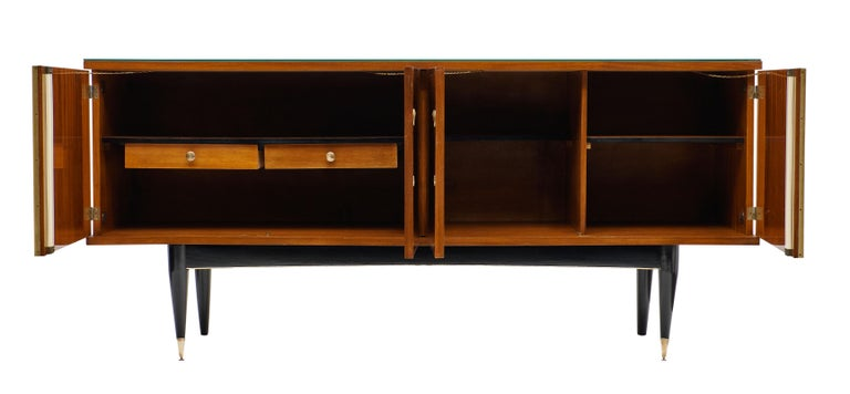 Brass Rosewood Vintage French Buffet For Sale