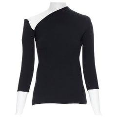 ROSIE ASSOULIN black virgin wool blend asymmetric neckline knitted top XS