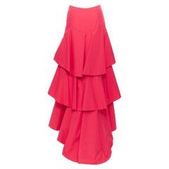 ROSIE ASSOULIN fuscia pink cotton triple tiered convertible spanish skirt US2