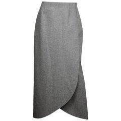 Rosie Assoulin Grey Wrap Wool-Flannel Maxi Skirt NWT Sz 10
