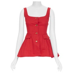 ROSIE ASSOULIN red denim cotton flap pocket button front flared back top US0