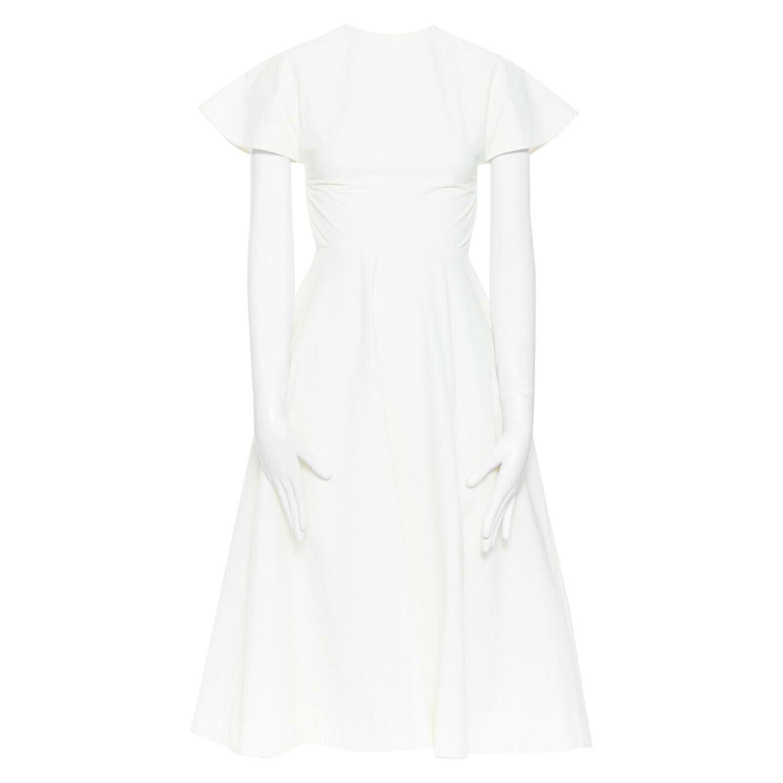 ROSIE ASSOULIN white cotton flutter sleeve open back flared midi dress US0 XS