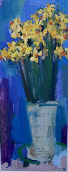 Rosie Copeland, Narcissi in a White Vase, Still Life Art, Original Painting