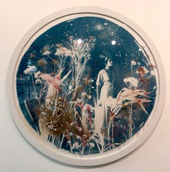 Liberty by Rosie Emerson, Hand-painted cyanotype, circular frame, vintage style