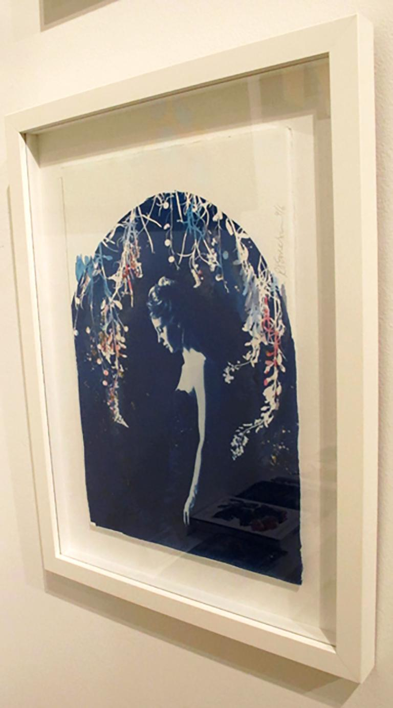 Lyra, by Rosie Emerson, Hand-painted cyanotype on paper, white box frame For Sale 2