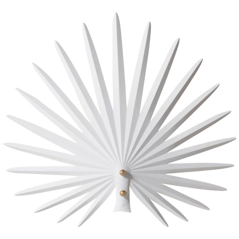 "Rosie Li ""Inez"" Sculptural Wall Light in Chalk White and Brass For Sale"