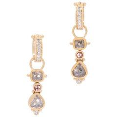 Rosie's Grey Diamond Drop Earrings in 22 Karat and 18 Karat Gold with Tourmaline