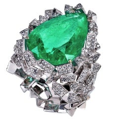 Rosior 11 Carat Colombian Emerald and Diamond Cocktail Ring
