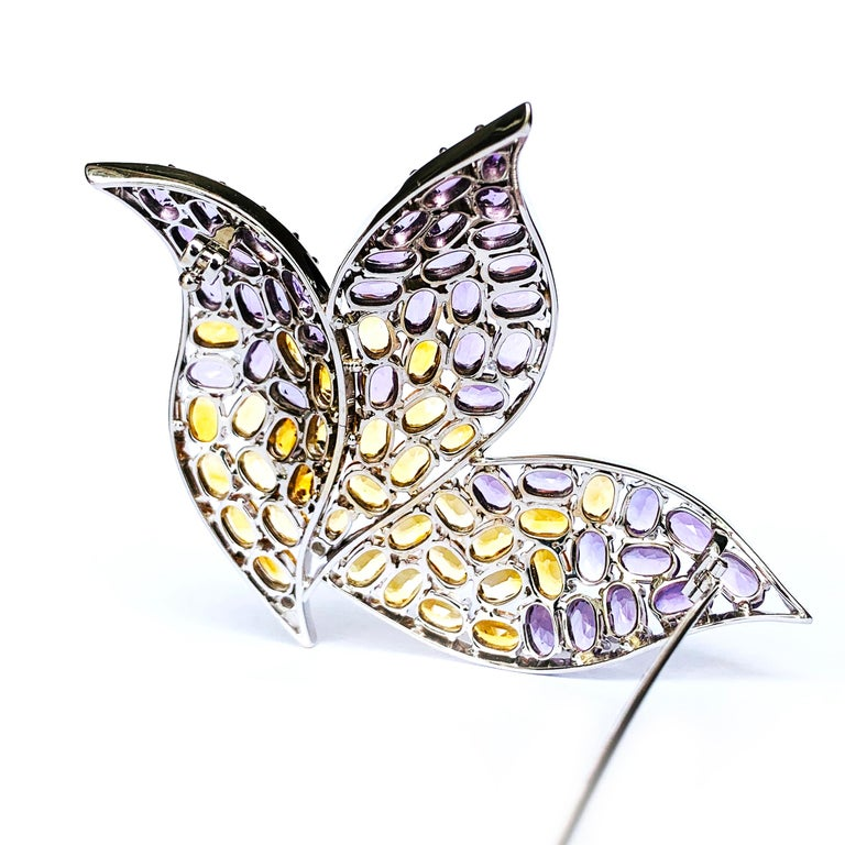 Oval Cut 19.2 Karat White Gold, Diamond, Amethyst and Citrine Topaz Contemporary Brooch For Sale