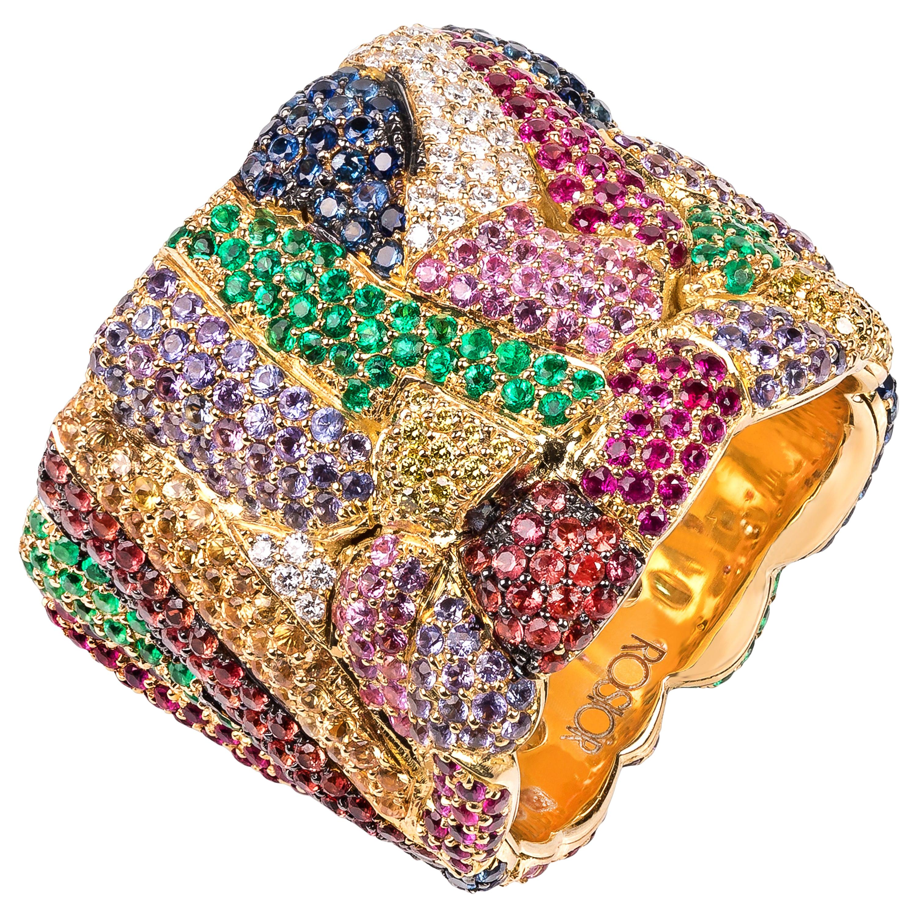 Rosior Contemporary Multi-Color Gemstone Cocktail Ring in Yellow Gold