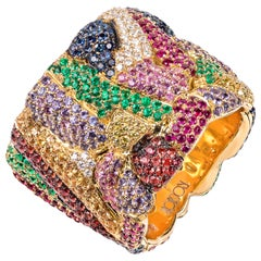 Rosior Contemporary 19.2 Karat Yellow Gold Multi-Color Gemstone Cocktail Ring