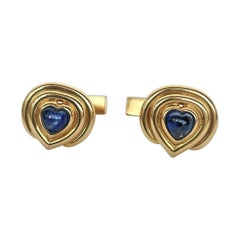 "Rosior Contemporary ""Cabochon"" Blue Sapphire and Yellow Gold Cufflinks"