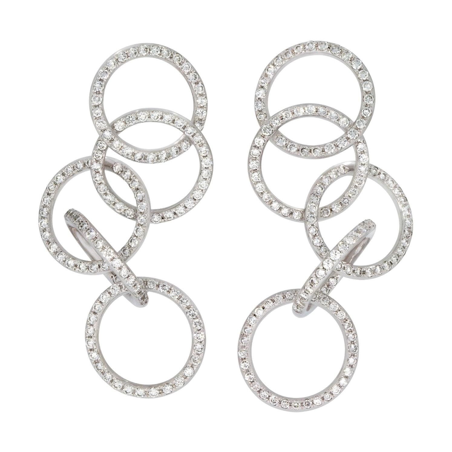 Rosior Contemporary Diamond and White Gold Dangle Earrings