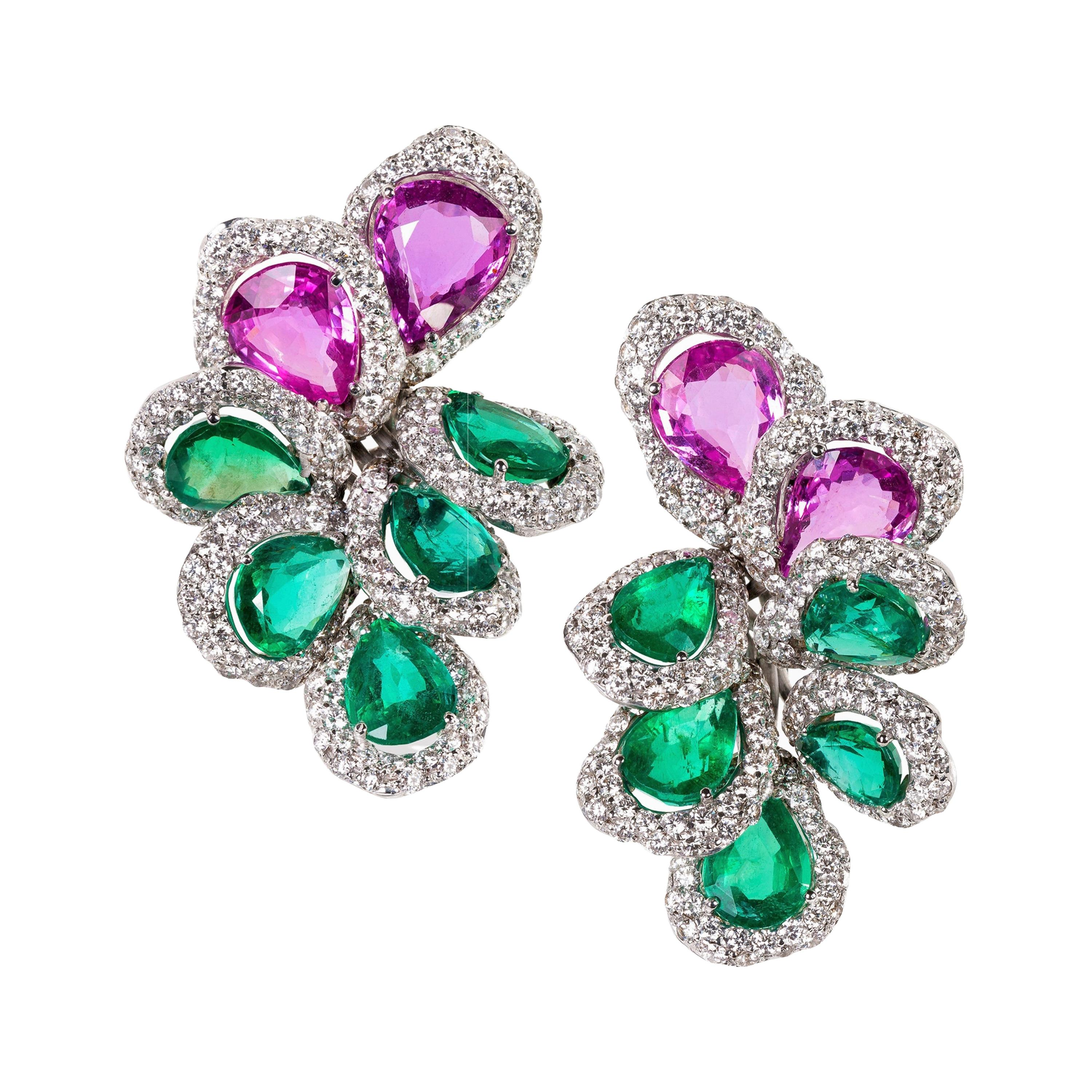 Rosior Contemporary Emerald, Pink Sapphire and Diamond White Gold Drop Earrings