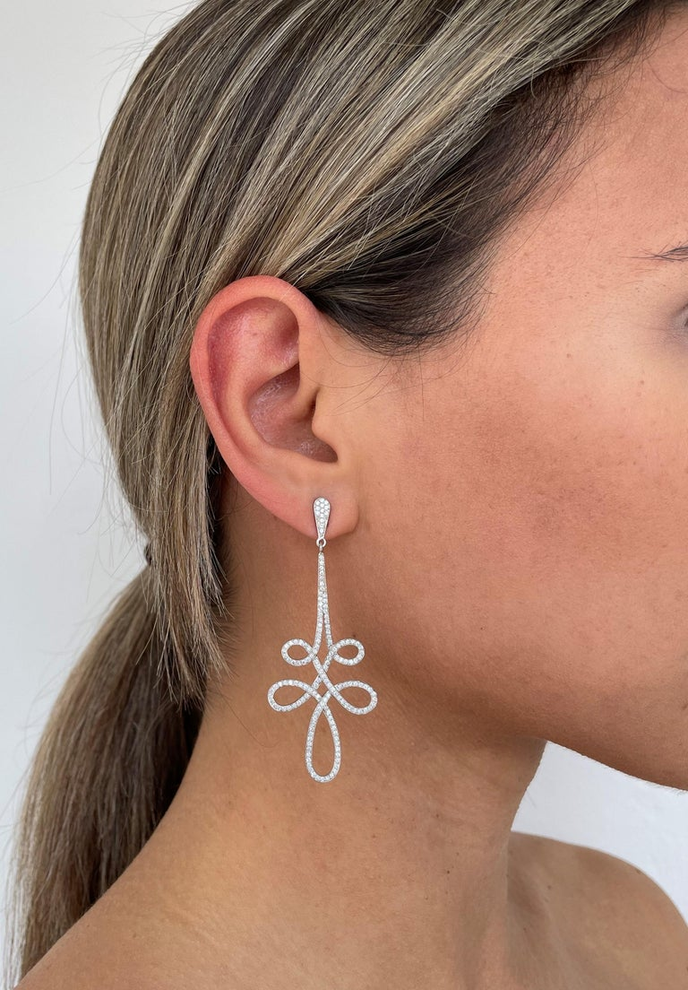 Rosior Contemporary Dangle Earrings manufactured in White Gold with 6,5 cm long (2.55