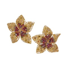 """Rosior Diamond and Sapphire Contemporary """"Flower"""" Earrings"""