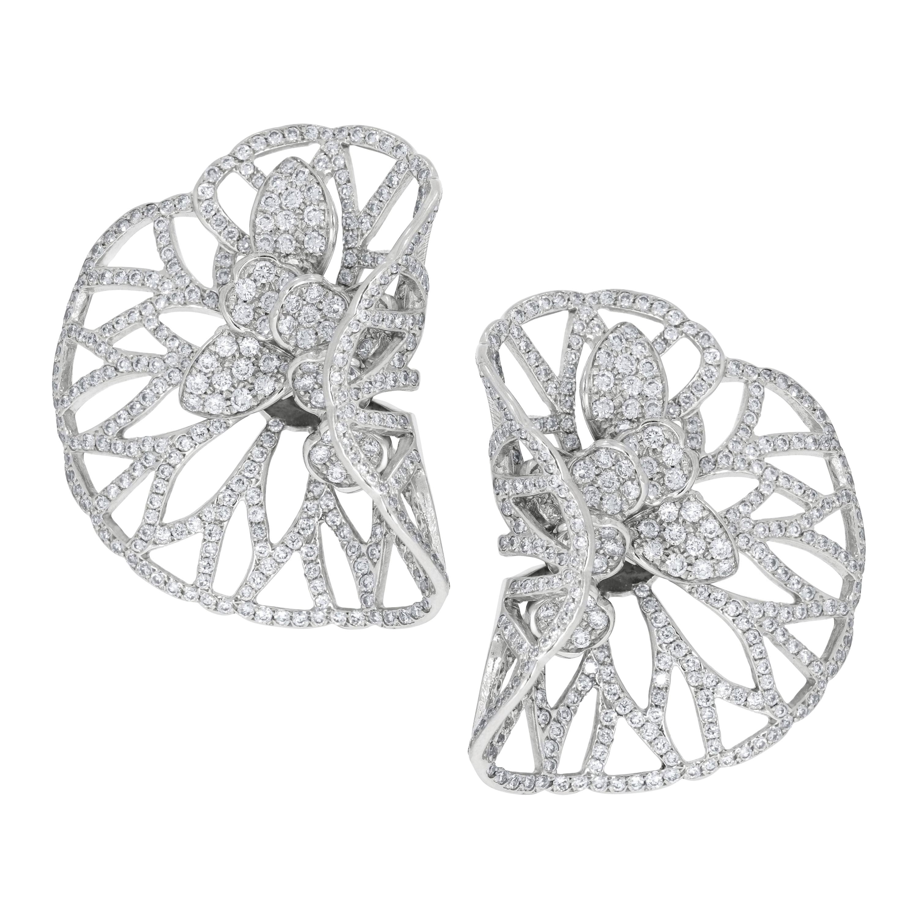Rosior Diamond and White Gold Contemporary Drop Earrings
