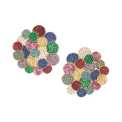 Rosior Diamond, Emerald and Sapphire Yellow Gold Contemporary Earrings