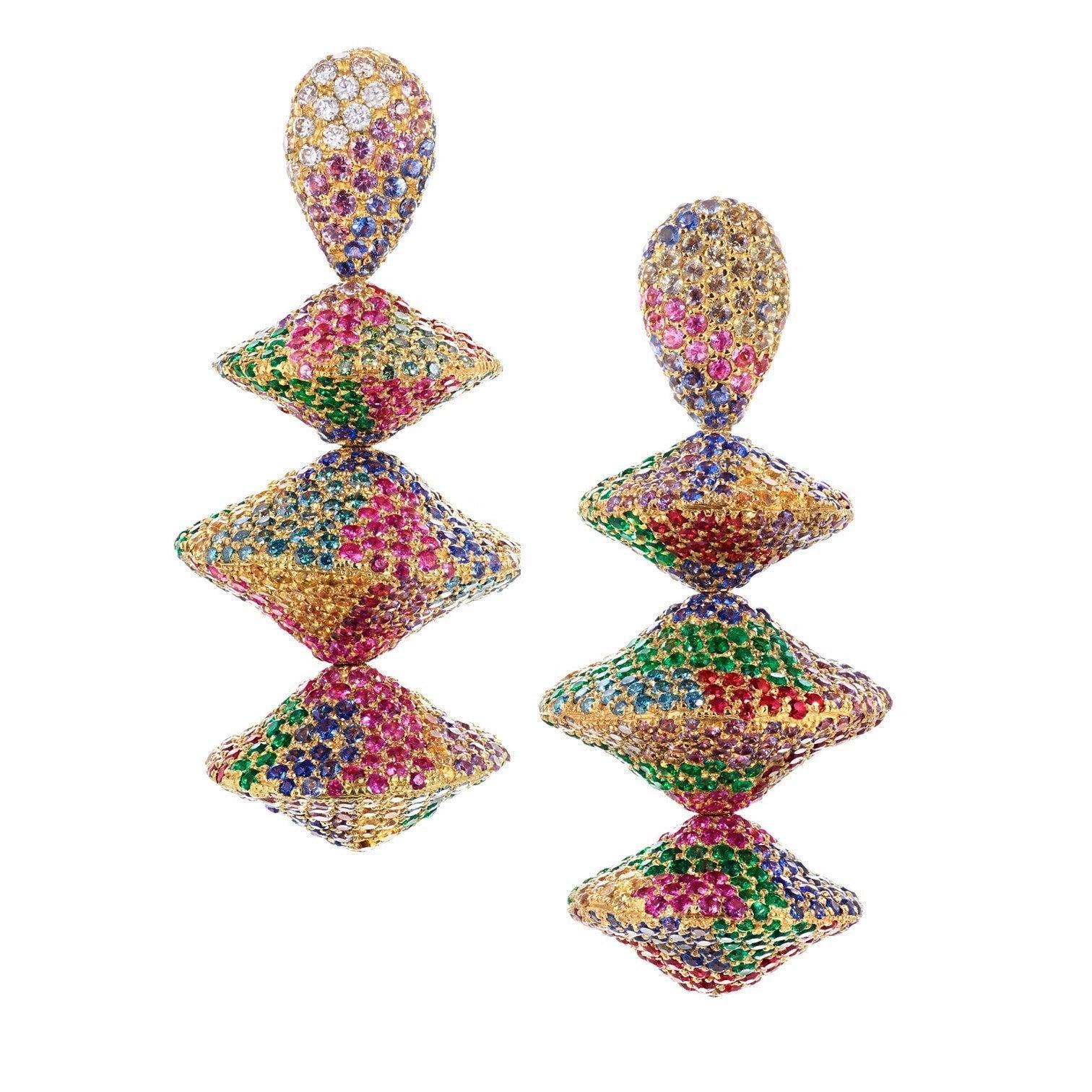 Rosior Diamond, Sapphire and Emerald Yellow Gold Dangle Earrings