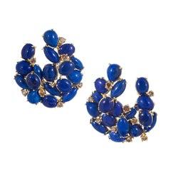 Rosior Lapis Lazuli and Diamond Contemporary Drop Earrings