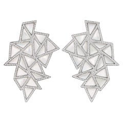 """Rosior Mother-of-Pearl and Diamond Contemporary """"Mosaic"""" Dangle Earrings"""