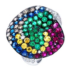 Rosior Multicolor Gemstone and White Gold Cocktail Ring