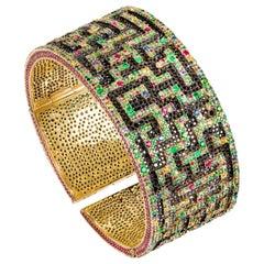 "Diamond, Emerald, Sapphire, Ruby and Tsavorite Contemporary ""Labyrinth"" Bracelet"