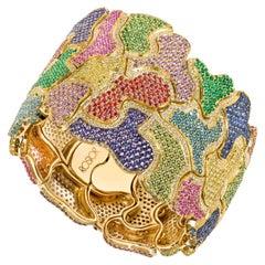 "Rosior Multicolor Gemstone Contemporary Yellow Gold ""Puzzle"" Cuff Bracelet"