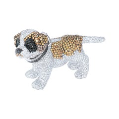 """Rosior White, Yellow, Brown and Black Diamond White Gold """"Dog"""" Pendant Necklace"""