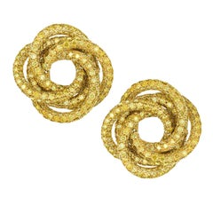 Rosior Yellow Diamond on Yellow Gold Contemporary Earrings