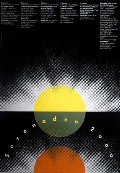 """Serenaden 2000"" Swiss Post Modern Music Festival Original Vintage Poster"