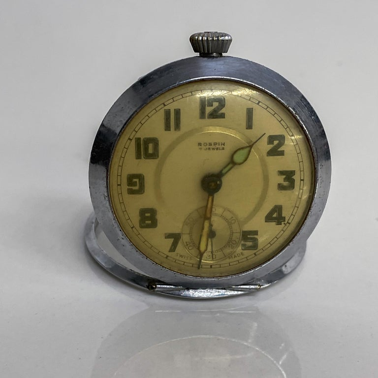 ROSPIN 7 Jewels Swiss Made Pocket Watch Antique Art Deco Travel Clock, 1920s In Fair Condition For Sale In National City, CA