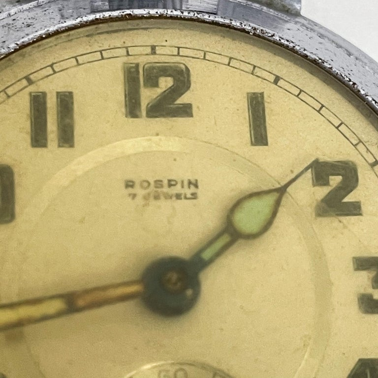 Early 20th Century ROSPIN 7 Jewels Swiss Made Pocket Watch Antique Art Deco Travel Clock, 1920s For Sale