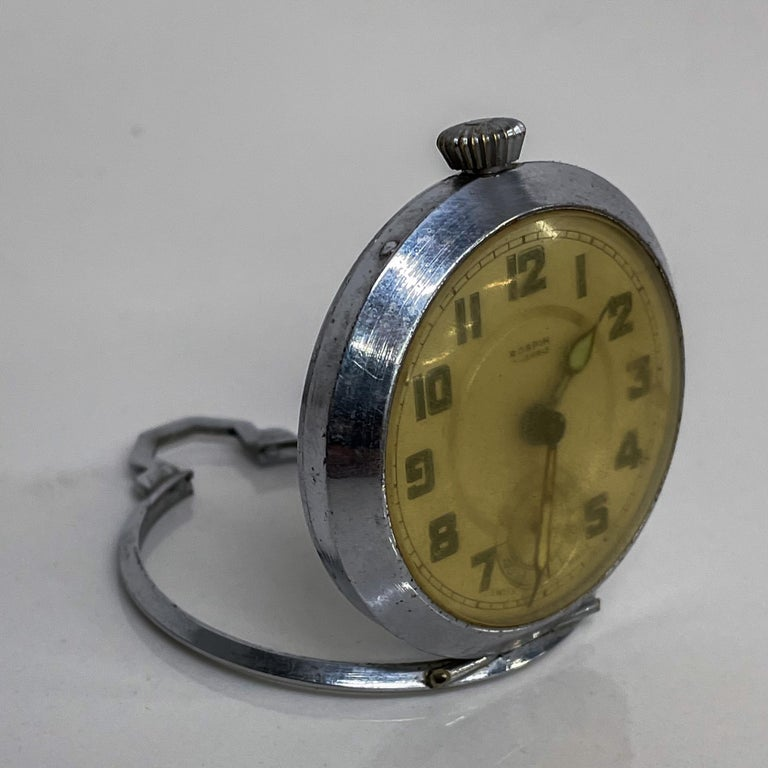 Chrome ROSPIN 7 Jewels Swiss Made Pocket Watch Antique Art Deco Travel Clock, 1920s For Sale