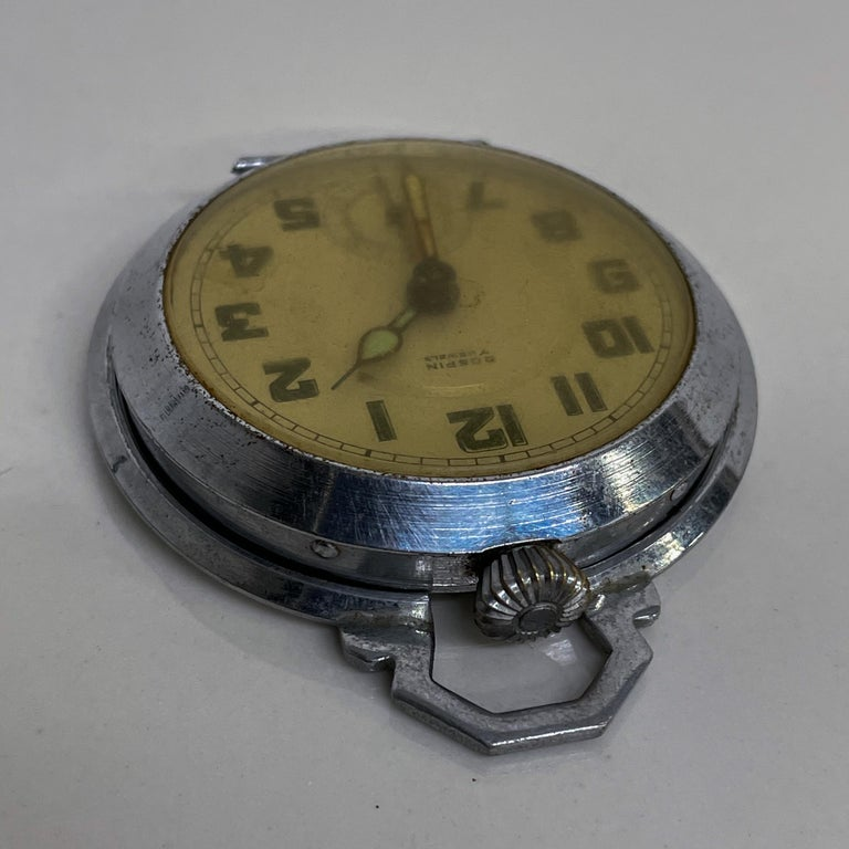 ROSPIN 7 Jewels Swiss Made Pocket Watch Antique Art Deco Travel Clock, 1920s For Sale 2