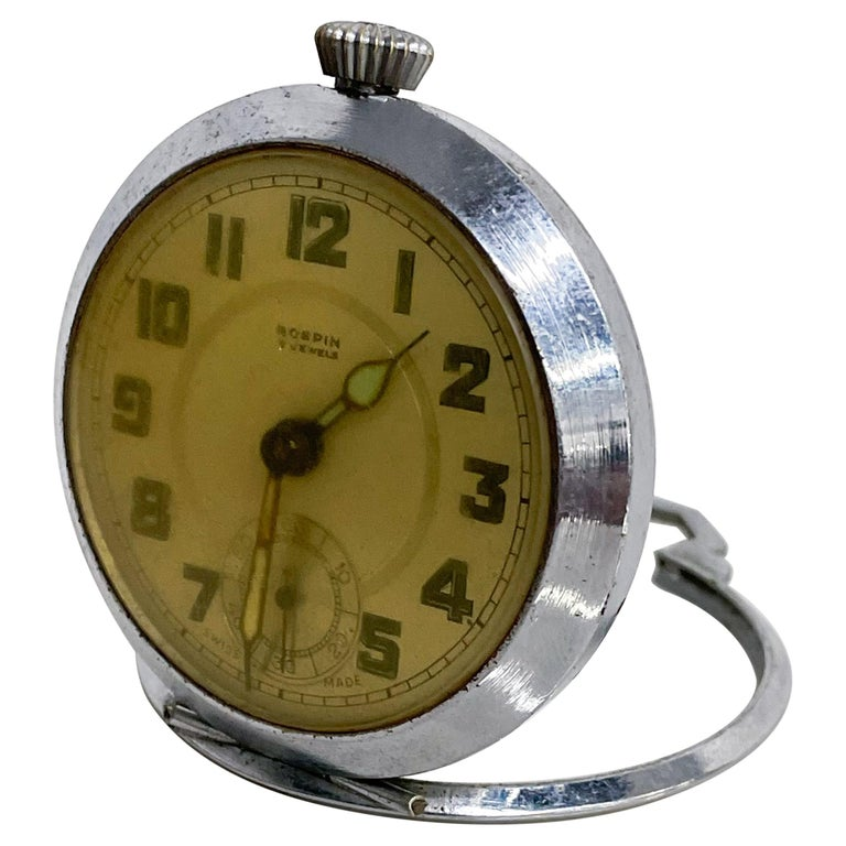 ROSPIN 7 Jewels Swiss Made Pocket Watch Antique Art Deco Travel Clock, 1920s For Sale