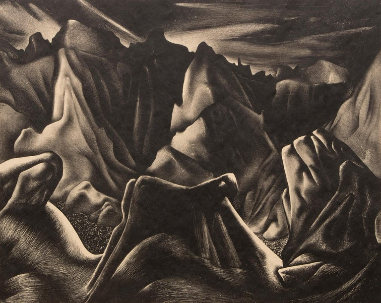 Bad Lands Nocturne- South Dakota Landscape, Modernist Black and White Lithograph - American Modern Art by Ross Braught