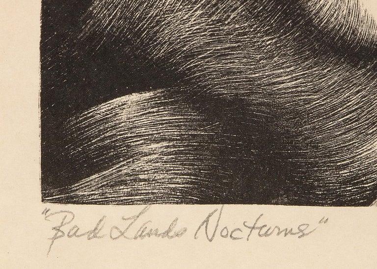 Bad Lands Nocturne- South Dakota Landscape, Modernist Black and White Lithograph For Sale 3