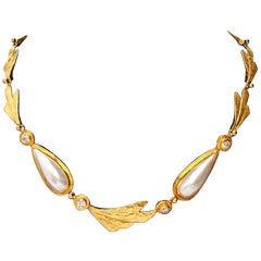 Ross Coppelman Gold Necklace with Diamonds and Pearls