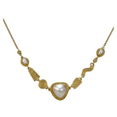 Ross Coppelman High Karat Gold, Pearl, and Diamond Necklace