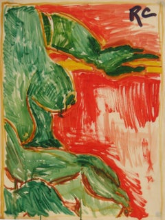 Abstracted Figure Study in Red & Green Mid Century Oil